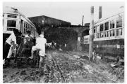 昭和28年白川大水害で被害を受けた市電大江車庫