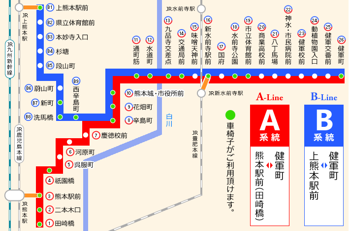 熊本市交通局 背景色 文字サイズ お問い合わせ よく使う時刻表 お知らせ 時刻表検索 乗車券 営
